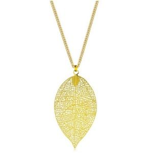 Jewelry - Gold Filigree Leaf Pendant Necklace